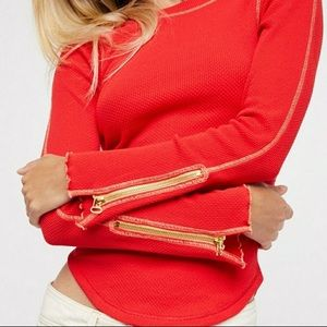 Free People zip it up red waffle knit thermal